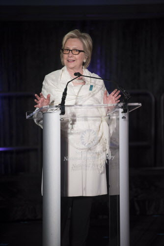 "Hillary Rodham Clinton speaks at the opening of ""Votes for Women: A Portrait of Persistence"" at the Smithsonian's National Portrait Gallery March 28, 2019, in Washington. (Associated Press)."