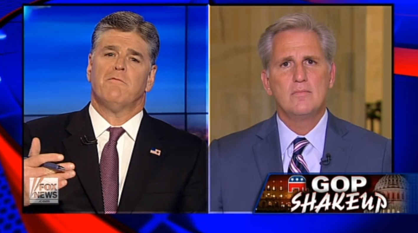 Sean Hannity interviews U.S. Rep. Kevin McCarthy, R-Calif., on Fox News on Sept. 29, 2015. (Fox News)
