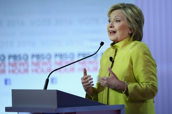 Democratic presidential candidate Hillary Clinton takes part in the PBS NewsHour Democratic presidential candidate debate at the University of Wisconsin-Milwaukee on Feb. 11, 2016. (Win McNamee/Getty Images)