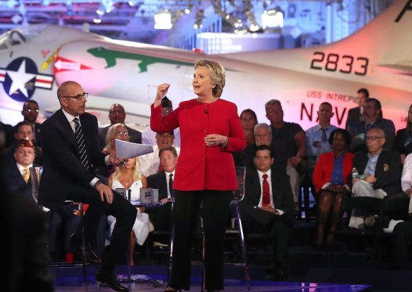NBC's Matt Lauer looks on as Democratic presidential nominee Hillary Clinton speaks during the Commander-in-Chief Forum on Sept. 7, 2016 (Justin Sullivan/Getty Images)