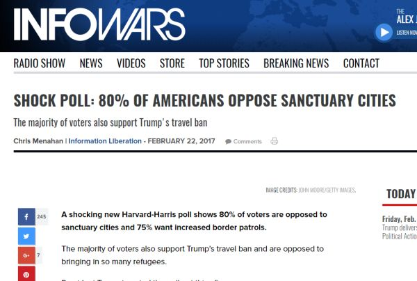 This is how Infowars played the 80 percent poll figure.