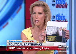 "Radio talk show host Laura Ingraham holds a flier criticizing Eric Cantor on ""This Week"" on June 15, 2014."