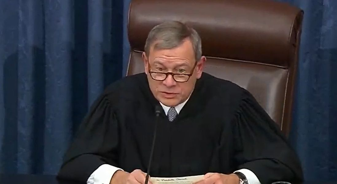 Chief Justice John Roberts presides over the Senate impeachment trial of President Donald Trump. (C-SPAN)