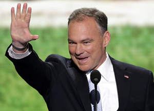 U.S. Senate candidate Tim Kaine delivered a seven-minute speech at the Democratic National Convention on Tuesday night.