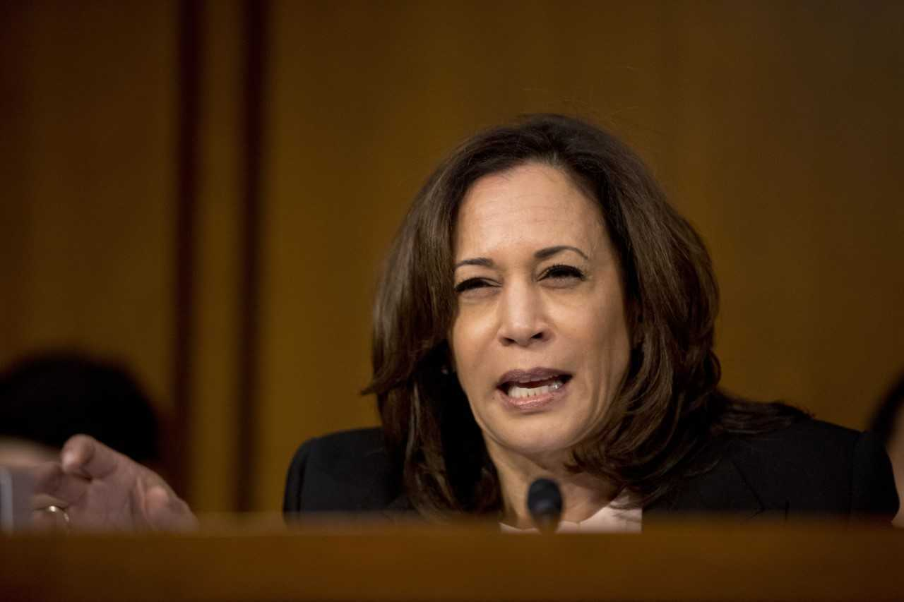 Sen. Kamala Harris, D-Calif. questions Attorney General nominee William Barr as he testifies before a Senate Judiciary Committee hearing on Capitol Hill in Washington, Tuesday, Jan. 15, 2019. (AP Photo/Andrew Harnik)