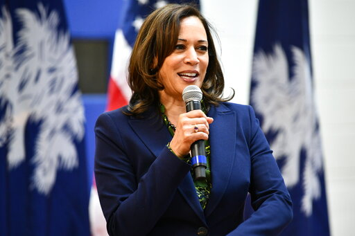 California Sen. Kamala Harris campaigns for president in South Carolina in March 2019. Associated Press