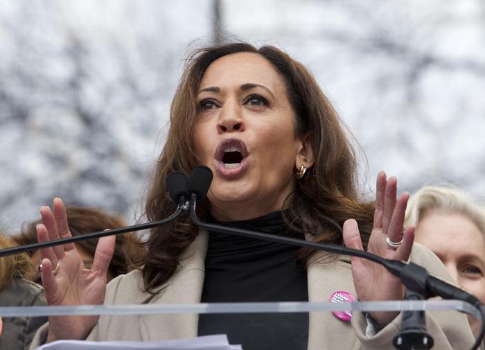 Sen. Kamala Harris, D-Calif., speaks during the Women's March on Washington, Saturday, Jan. 21, 2017 in Washington. (AP Photo/Jose Luis Magana)