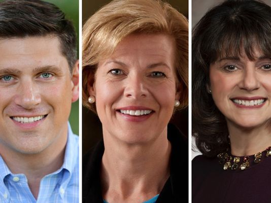 Wisconsin Republicans are hoping to deny Democratic U.S. Sen. Tammy Baldwin (center) a second term in the November 2018 elections. Vying for the GOP nomination to challenge Baldwin are political newcomer Kevin Nicholson and state Sen. Leah Vukmir.