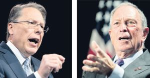 Wayne LaPierre, left, of the National Rifle Association; right, New York City Mayor Michael Bloomberg of Mayors Against Illegal Guns