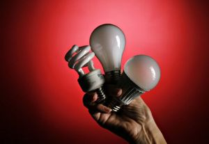 These are three kinds of the most popular light bulbs on the market: compact flourescent light, incandescent and LED.