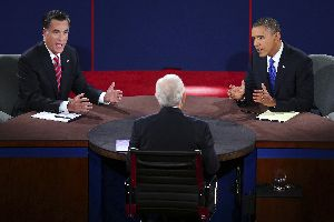 President Barack Obama and former Massachusetts Gov. Mitt Romney square off during their third presidential debate, which took place in Boca Raton, Fla.