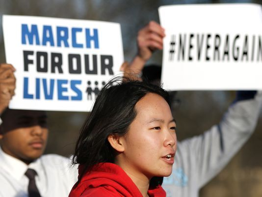 Suburban Milwaukee high school student Sophia Zhang speaks at a news conference about local plans for the March for Our Lives event. (C.T. Kruger/Now News Group)
