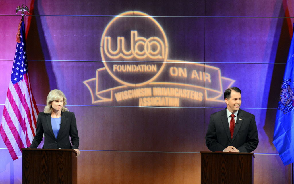 Democrat Mary Burke and Republican Gov. Scott Walker debated for the first time on Oct. 10, 2014.