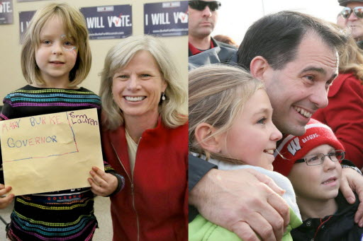Democratic nominee Mary Burke and Republican Gov. Scott Walker posed for pictures with children while campaigning on Nov. 2, 2014, two days before Wisconsin's gubernatorial election.