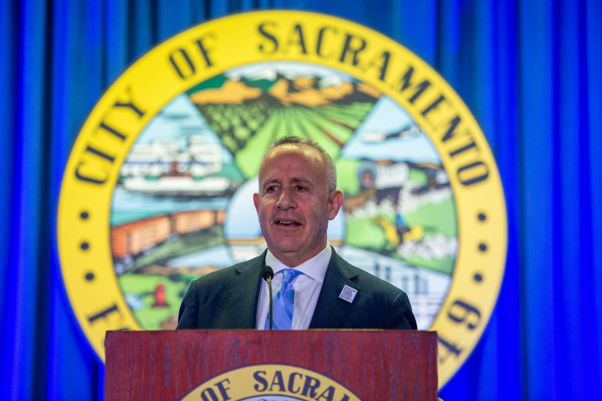 Sacramento Mayor Darrell Steinberg delivers the State of the City address in February 2019. Andrew Nixon / Capital Public Radio