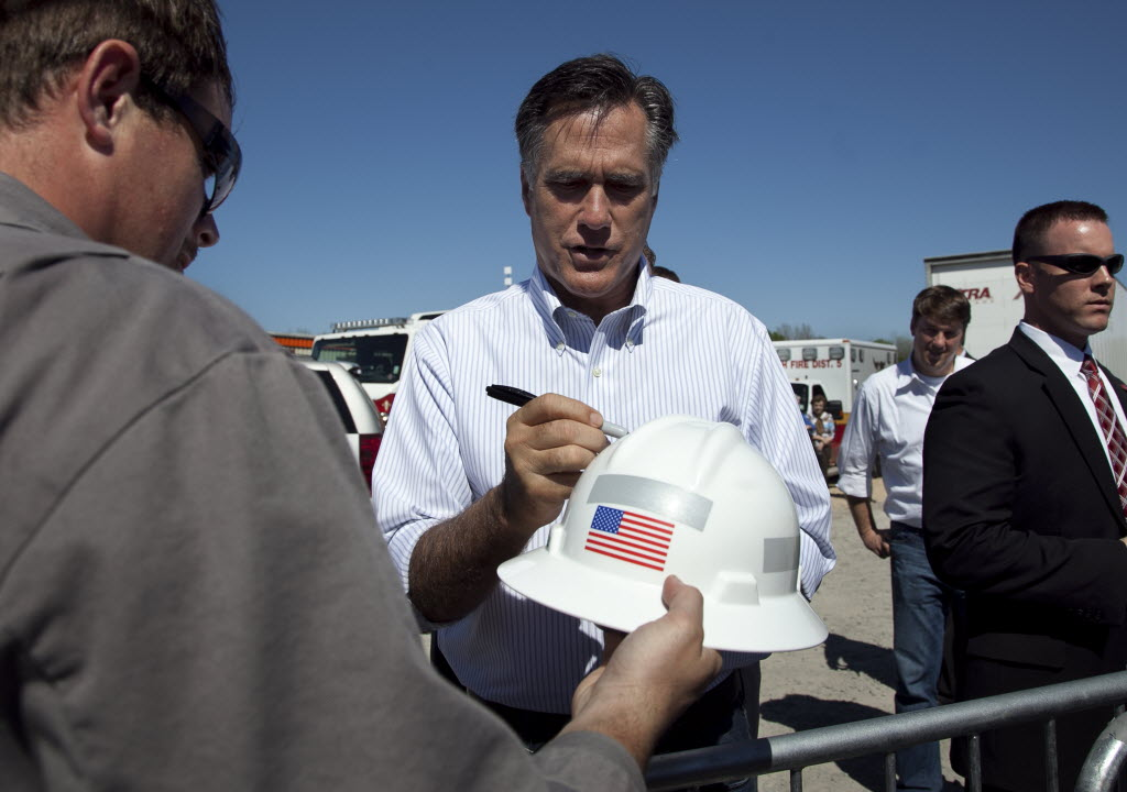 In this Associated Press photo, GOP presidential candidate Mitt Romney is shown campaigning in Louisiana. The Wisconsin primary is April 3, 2012.