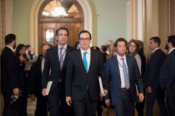 Treasury Secretary Steven Mnuchin arrives at the Capitol for a closed-door meeting with Senate Majority Leader Mitch McConnell, R-Ky., as they struggle to get a tax code overhaul on Sept. 12, 2017. (AP/J. Scott Applewhite)