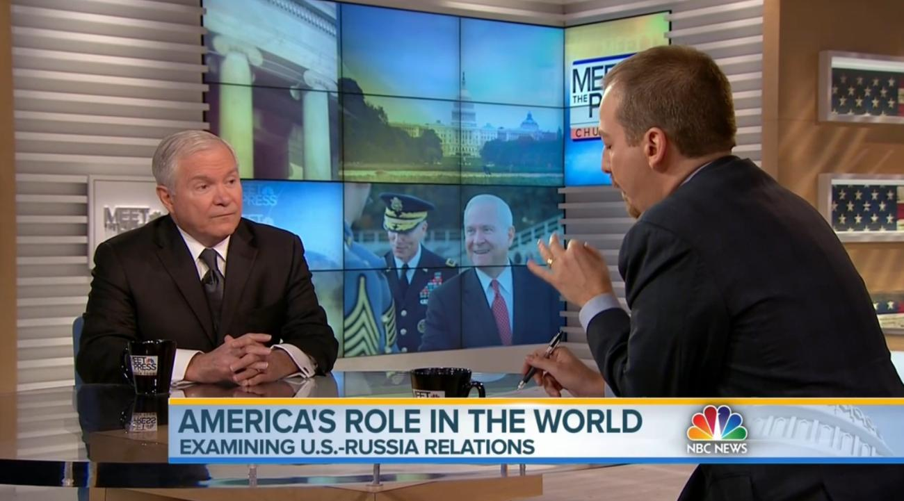 "Former Defense Secretary Robert Gates (left) and Chuck Todd on ""Meet the Press"" Feb. 1, 2015."