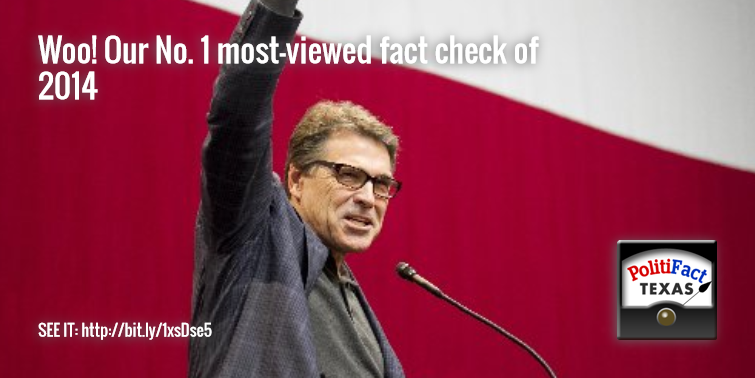 Gov. Rick Perry didn't have a thing to do with readers making our U.S Census Bureau fact check our most-viewed story of 2014. But he sure knows how to lead a cheer. Huzzah! (Austin American-Statesman photo).