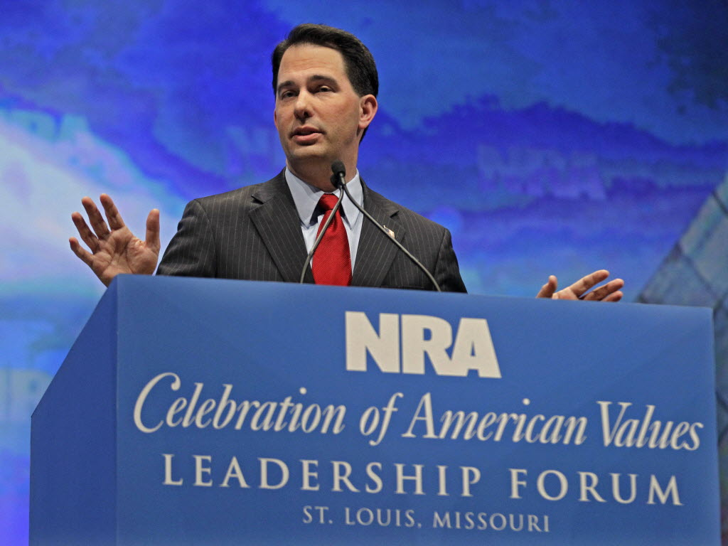 Gov. Scott Walker speaks at the National Rifle Association convention. (Michael Conroy/AP)