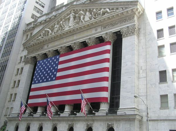 A view of the New York Stock Exchange from Wall Street. (Wikimedia Commons)