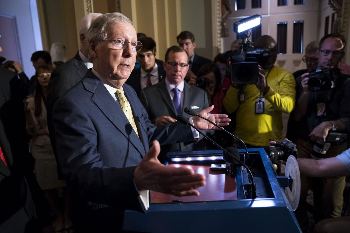Senate Majority Leader Mitch McConnell (R-Ky.) speaks to reporters at the Capitol in Washington, June 20, 2017. (New York Times)