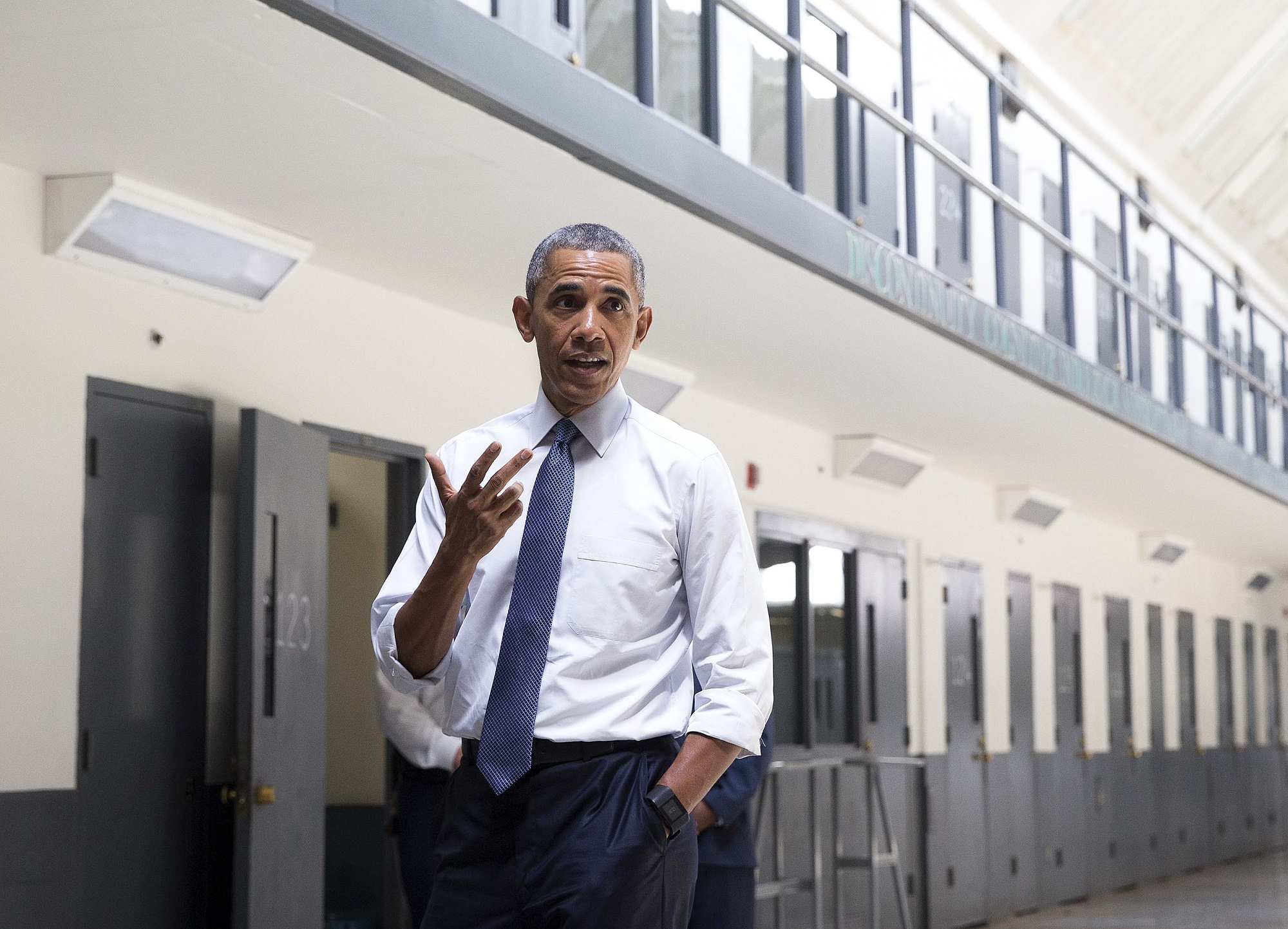President Barack Obama visits the El Reno Federal Correctional Institution in El Reno, Okla., July 16, 2015, as part of a drive to overhaul the U.S. criminal justice system. (Doug Mills/The New York Times)