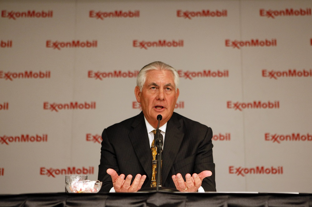 Rex Tillerson, then chairman and chief executive of ExxonMobil, speaks during a news conference in Dallas, May 25, 2016. (Ben Torres/New York Times)