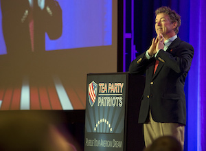 Sen. Rand Paul, R-Ky., addressed a tea party gathering in Washington on Feb. 27, 2013.