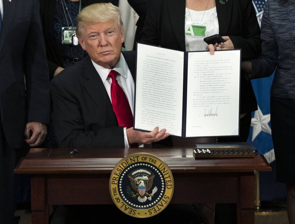 President Donald Trump after signing an executive action that will order the construction of a border wall. Jan. 25, 2017. (Doug Mills/The New York Times)