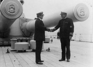 British Adm. David Beatty and U.S. Adm. Hugh Rodman shaking hands aboard the flagship Queen Elizabeth. The two joined forces in World War I under British control.