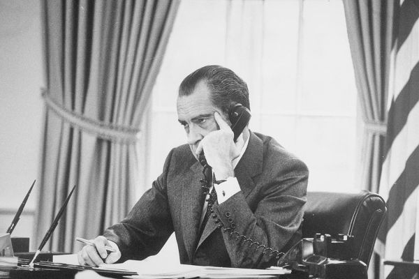 Richard Nixon in the Oval Office. (National Archives)