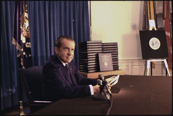 President Richard Nixon holds a press conference to release edited transcripts of secretly recorded White House conversations, April 29, 1974.