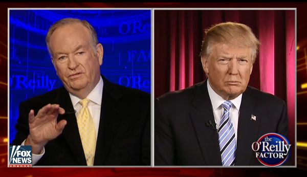 Donald Trump was intereviewed by Fox News host Bill O'Reilly on May 23, 2016.
