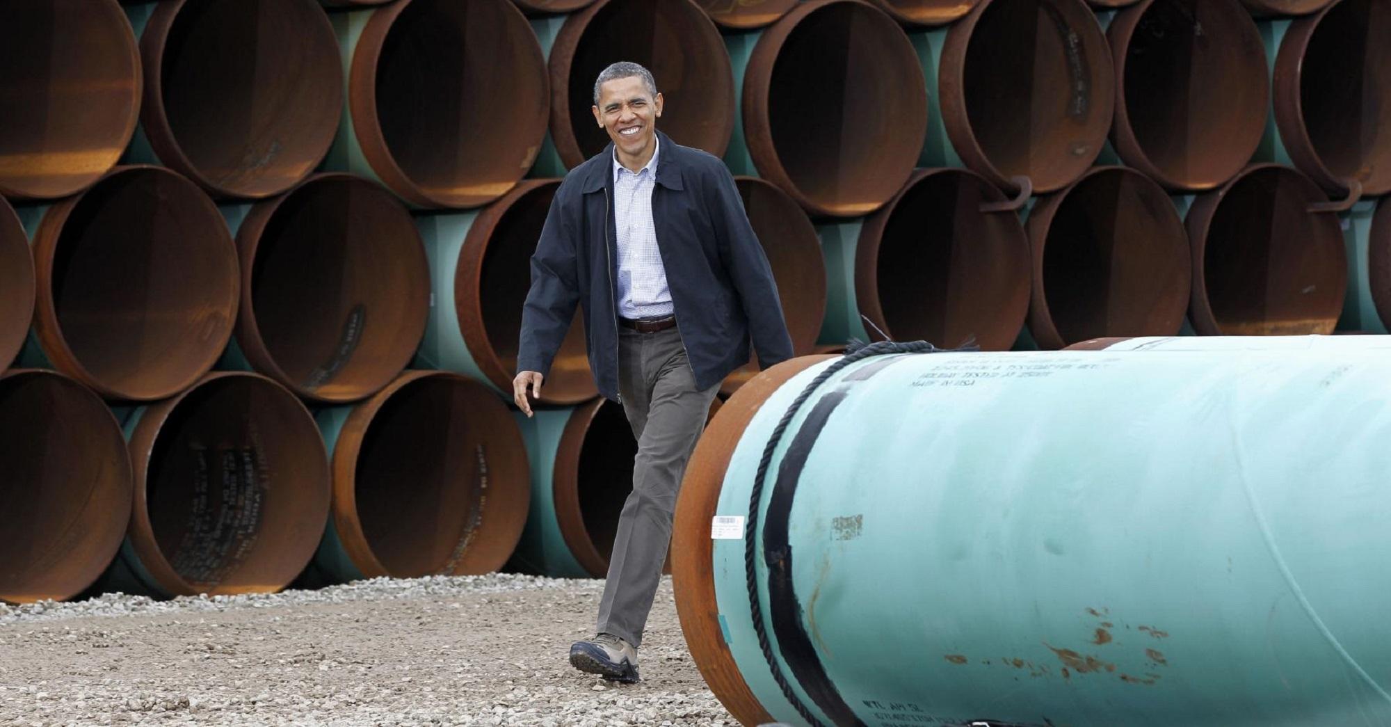 In 2012, President Barack Obama toured the TransCanada Stillwater Pipe Yard in Cushing, Okla. (AP file)
