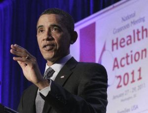 President Barack Obama addresses the Families USA 16th Annual Health Action Conference, in Washington on Friday, Jan. 28, 2011. Families USA is a consumer advocacy health care organization.