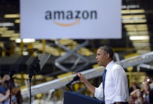 President Barack Obama speaks about the economy at an Amazon.com distribution center in Chattanooga, Tenn., on July 30, 2013.
