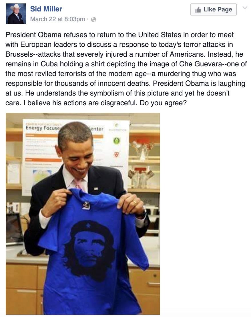 Sid Miller Posts Fake Photo Of Obama Holding Che Guevara T Shirt