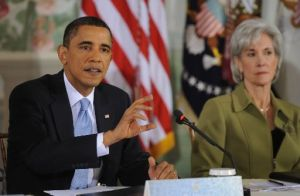 President Barack Obama speaks and Health Secretary Kathleen Sebelius looks on at Thursday's bipartisan health care summit.