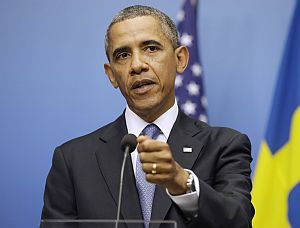 President Barack Obama spoke about Syria, red lines and the international community at a press conference in Stockholm, Sweden, on Sept. 4, 2013.