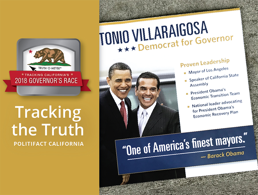 Former President Obama is prominently featured in a campaign mailer for California gubernatorial candidate Antonio Villaraigosa. But he hasn't endorsed anyone in the race.
