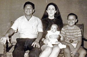 Barack Obama at age 9, shown with his mother Ann Dunham, his Indonesian stepfather Lolo Soetoro, and his less than 1-year-old sister Maya Soetoro in Jakarta, Indonesia.