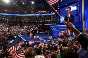 President Barack Obama addresses the Democratic National Convention. (Tampa Bay Times photo by Kathleen Flynn)