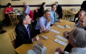President Barack Obama during a meeting at Cafe Beauregard in New Britain, Conn., on March 5, 2014. He spent a portion of the day urging Congress to approve a minimum wage hike from $7.25 to $10.10.