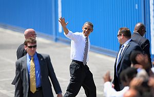 President Barack Obama greets well-wishers in Miami on March 29, 2013. (Getty)