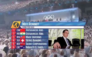This ad, quickly pulled down after pressure from Olympic officials, attacks Mitt Romney against a backdrop of Olympic pageantry.