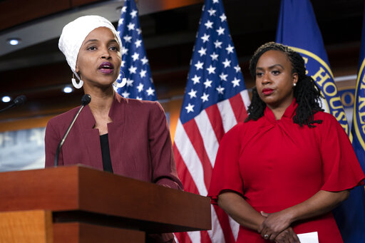 Rep. Ilhan Omar, D-Minn., speaks during a news conference at the Capitol on July 15, 2019. (AP/Applewhite)