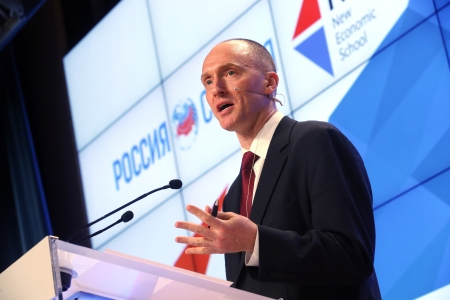 Former Trump campaign foreign policy adviser Carter Page delivers a presentation in Moscow on Dec. 12, 2016. (Artyom Korotayev/TASS)