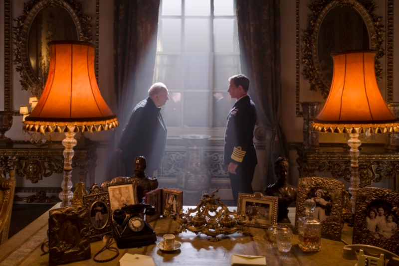 "Gary Oldman as Winston Churchill accepts the appointment as Prime Minister from King George VI, played by Ben Mendelsohn in ""Darkest Hour"". (Jack English / Focus Features)"