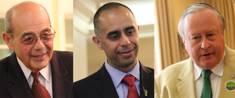 "Providence mayor candidates Vincent ""Buddy"" Cianci, Jorge Elorza and Daniel Harrop."